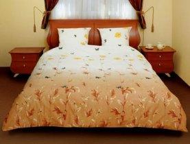 Двухспальный комплект постельного белья Маки коричневые с бабочками -534
