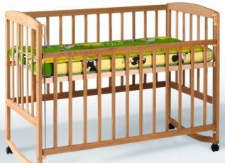 Кровать Детская Гойдалка с подвижной боковиной, дугами и колесами