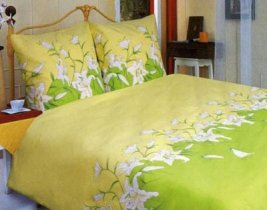Двухспальный комплект постельного белья Зеленая лилия -658