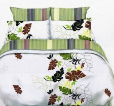 Двухспальный комплект постельного белья Лист комби -728
