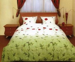 Семейный комплект постельного белья Маки зеленые с бабочками -533