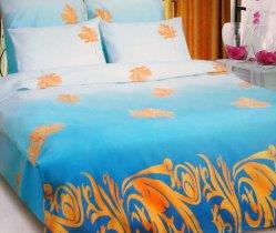 Семейный комплект постельного белья Осенний лист голубой -667