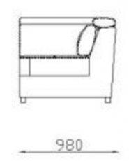 Модуль угол Уп2 с подголовниками к диван у Беллуно