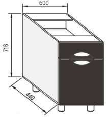 Модуль Н 60 низ кухня Адель Люкс