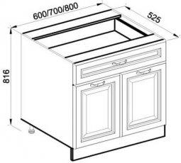 Модуль Н 60 2Д низ кухня Роксана