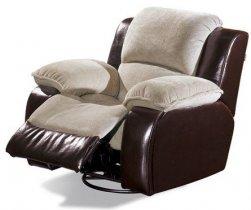 Кожаное кресло Louisiana 800-98rs реклайнер + вращение + качание