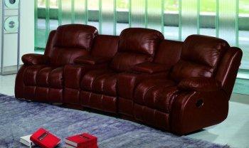 Кожаный диван New York 550-01-07-09-07-02 на три механические реклайнера