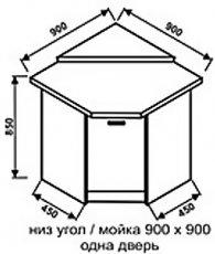 Низ мойка 900х900 одна дверь для кухни Техно