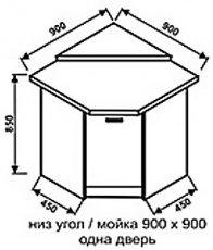 Низ угол 900х900 одна дверь для кухни Нова
