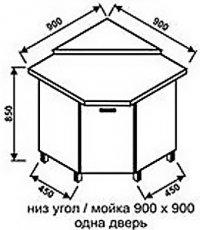 Низ угол 900х900 одна дверь для кухни Модерн