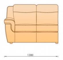 Модуль кожаного дивана Гермес 2С110 секция с 1 подлокотником (2СРП)