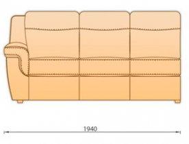 Модуль кожаного дивана Гермес 3Р150мр секция с 1 подлокотниками 3СРП