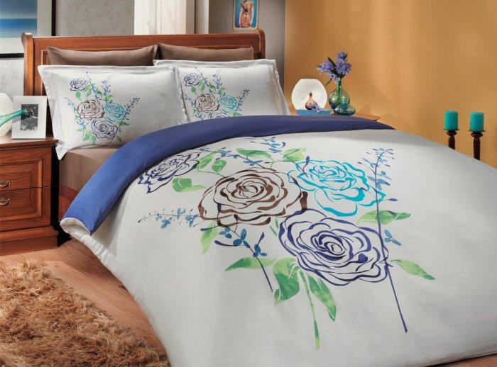 Евро комплект Hobby Premium Sateen Eldora синий