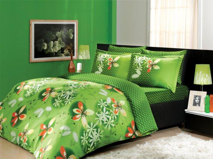 Евро комплект Hobby Premium Sateen Chichek зеленый