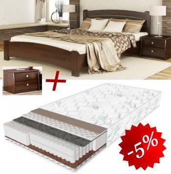 Комплект кровать Венеция Люкс + матрас Daily 2in1 160см + 2 Тумбы В2
