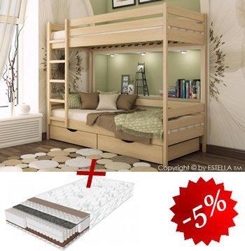 Комплект двухъярусная кровать Дуэт + 2 матраса Daily 80см