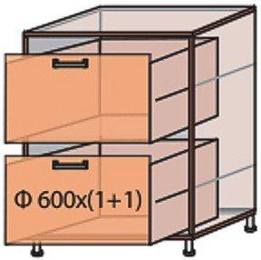 Модуль №10 ш 600-820 (1+1) низ кухни «Мода»