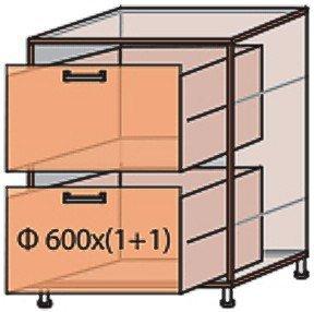 Модуль №10 ш 600-820 (1+1) низ кухни «Виктория New»