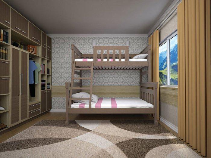 Двухъярусная кровать Комби 2 - 90х140х200см