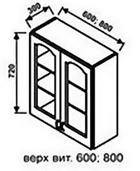 Верх 800 витрина для кухни Оникс