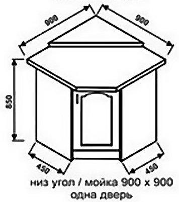 Низ угол 900х900 одна дверь для кухни Оникс