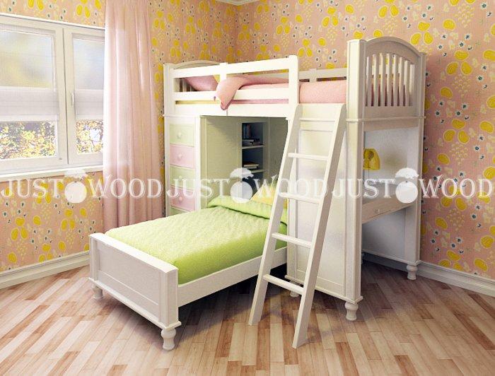 Детская двухъярусная кровать Гуффи 1 (комплект мебели)