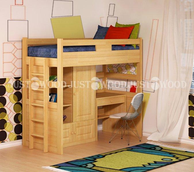 Детская кровать-чердак Леопольд (комплект мебели)