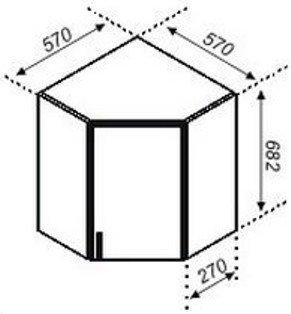 Тумба верхняя угловая 57×57 Корона