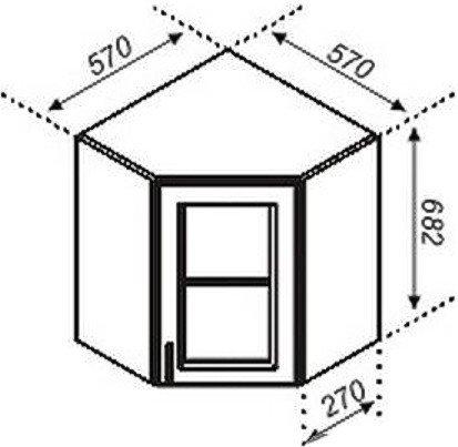 Тумба верхняя угловая 57×57СкЧ Корона