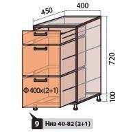 Модуль №9 NEW ш 400-820 (1+2) низ кухни