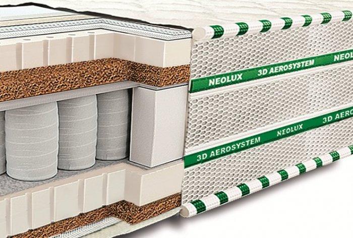 Двуспальный матрас Неолюкс Магнат латекс-кокос 3D - 160см