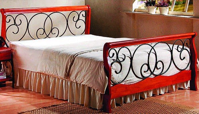 Двуспальная кровать кованая UF-9066 160 x 200 Green Line