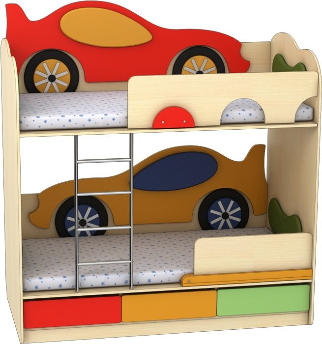 Кровать двухъярусная Машинка-Машинка Лунная Сказка