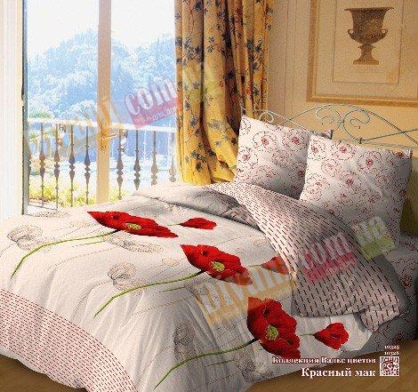 Двухспальный комплект постельного белья Красный мак