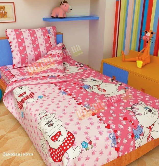 Детский полуторный комплект постельного белья Влюбленные коты