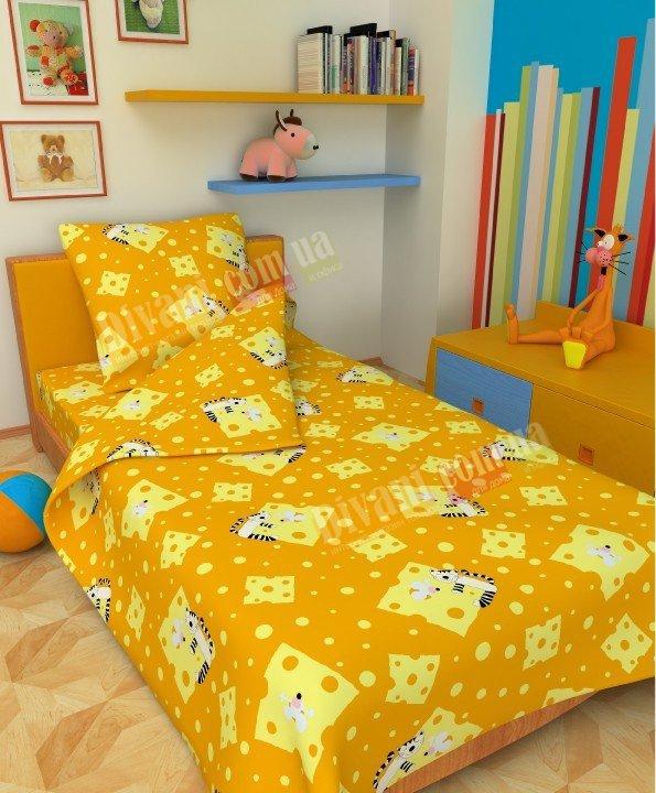 Детский полуторный комплект постельного белья Мышка и кот