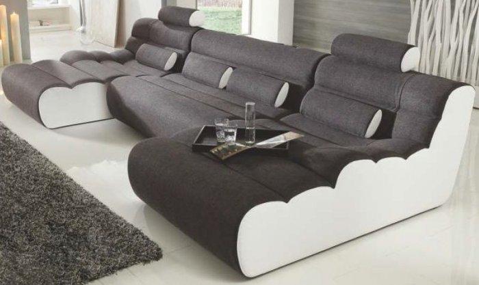 Кожаный модульный диван Мегалайф