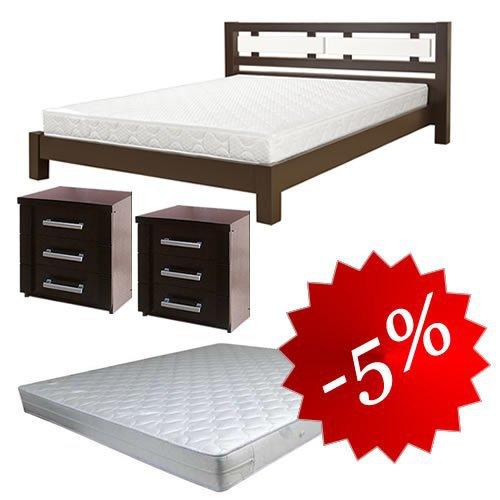 Комплект: кровать Виктория + 2 тумбы + матрас Daily 2in1 160x202см