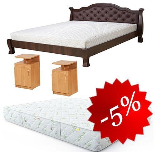 Комплект: кровать Татьяна-элегант Люкс + 2 тумбы + матрас Делайт 160х202