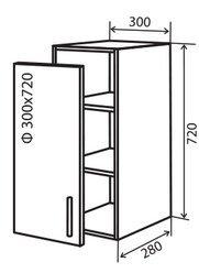 Модуль №4 в 300-720 верх кухни витрина «Техас»
