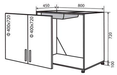 Модуль №14 в 800-820 низ кухни мойка «Техас»
