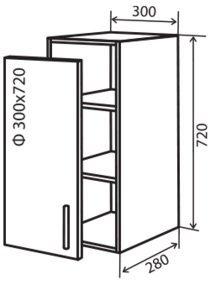 Модуль №2 в 300-720 верх кухни «Максима»