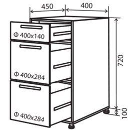Модуль №9 ш 400-820 (1+2) низ кухни «Максима»