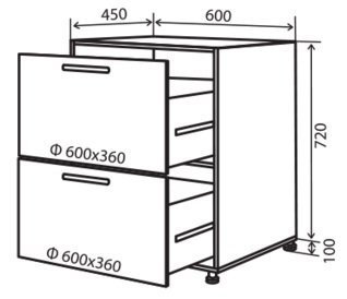 Модуль №10 ш 600-820 (1+1) низ кухни «Максима»
