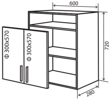 Модуль №26 вп 600-720 верх кухни «Максима New»