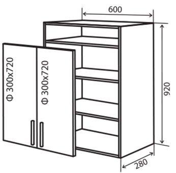 Модуль №36 вп 600-920 верх кухни «Максима New»