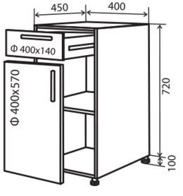 Модуль №23 ш 400-820 (1+1) низ кухни «Максима New»