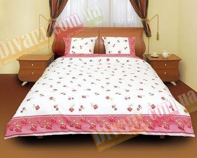 Евро комплект постельного белья Красная роза распущенная -517