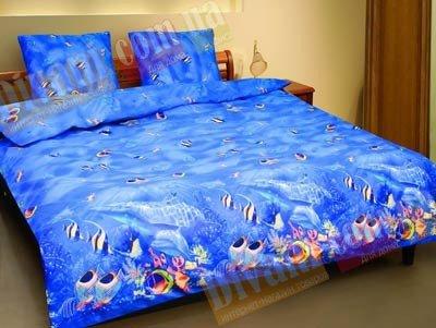 Евро комплект постельного белья Аквариум -593