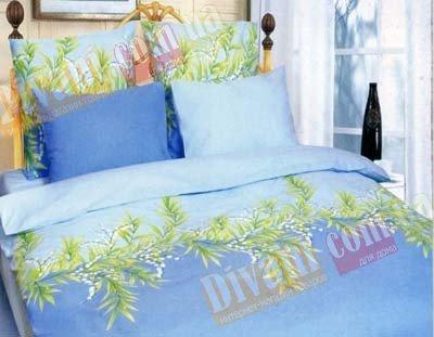 Евро комплект постельного белья Голубой ландыш -653